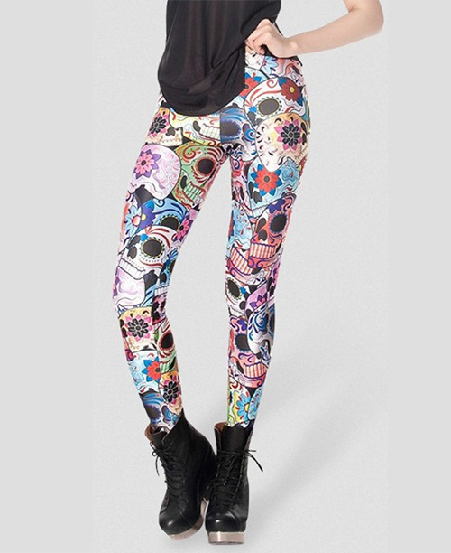 Legging estampa caveira mexicana